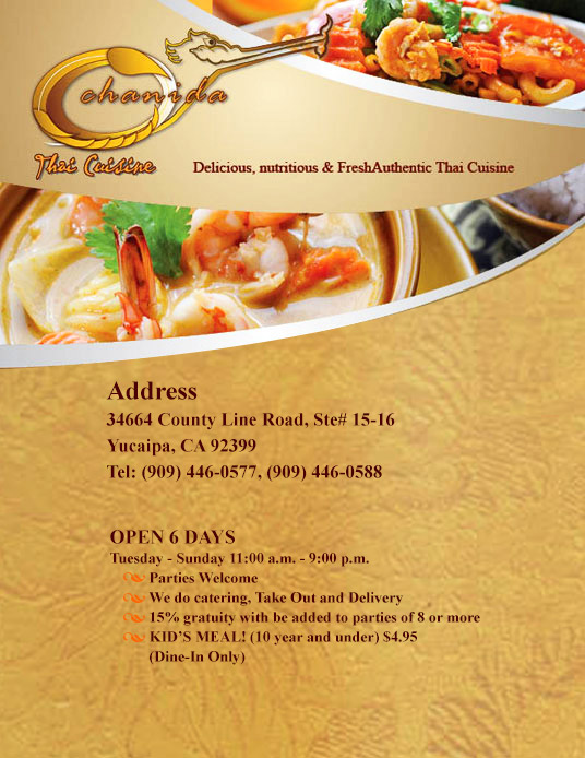 Welcome To Chanida Thai Cuisine